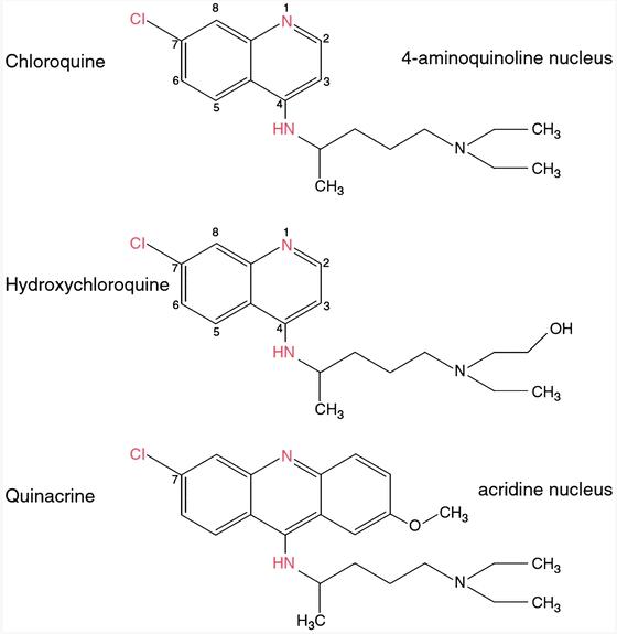 Chloroquine molecular stuctures